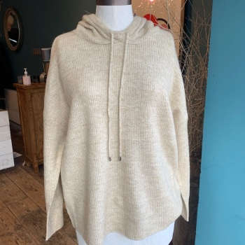 Knitted Cream Hoodie