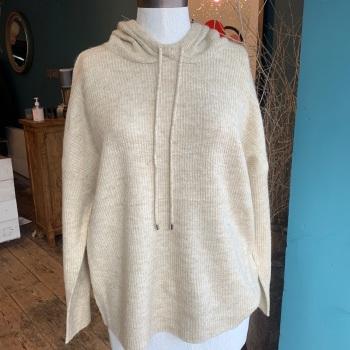 Knitted Cream Hoodie