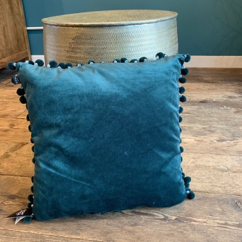 Teal beaded cushion