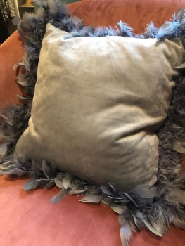 Grey feathered cushion