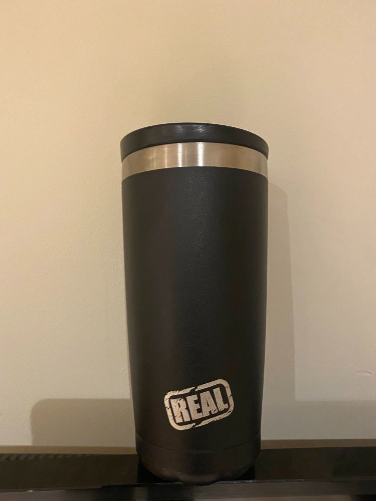 REAL branded Chilly's Insulated Coffee Cup