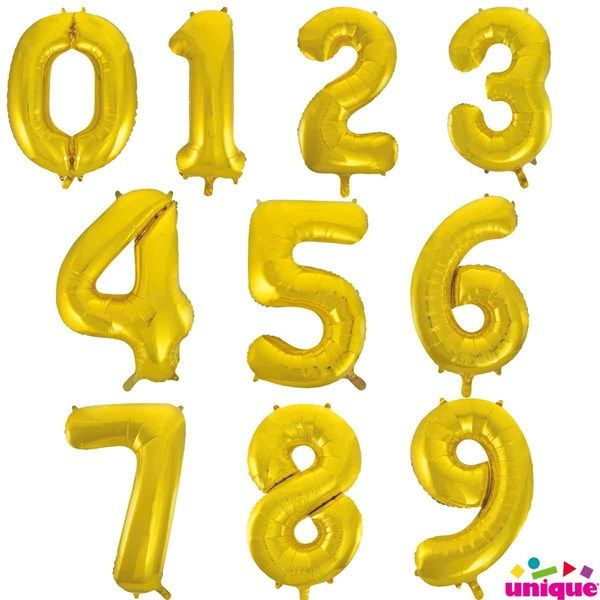 Gold Jumbo Number Balloons