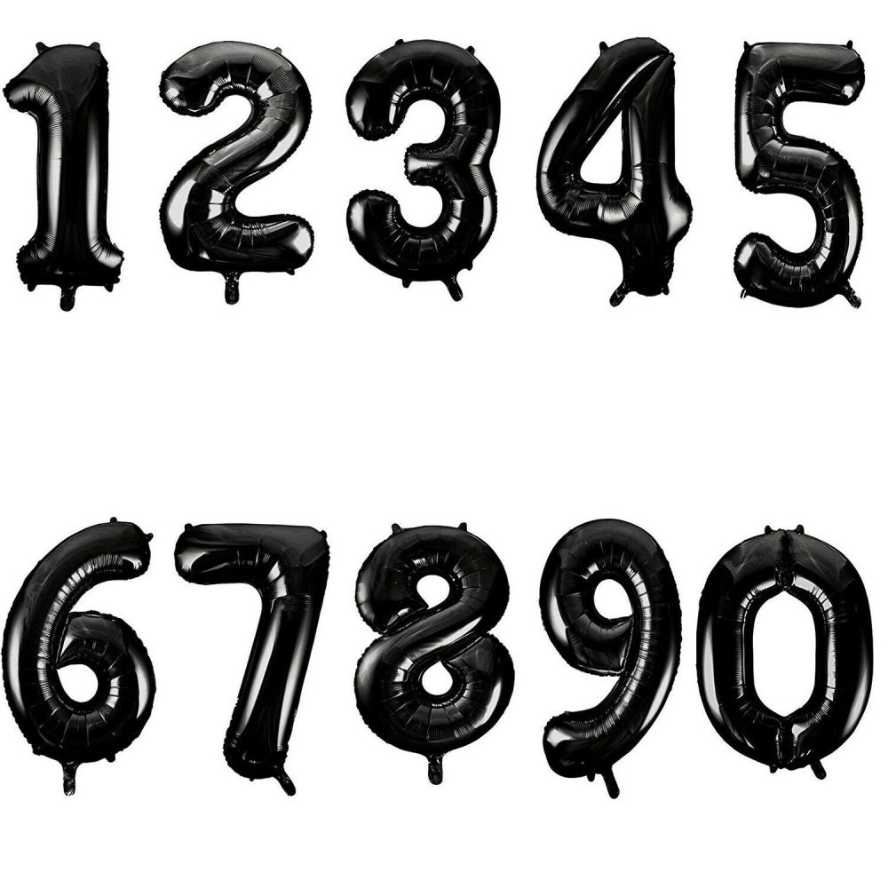 Black Jumbo Number Balloons