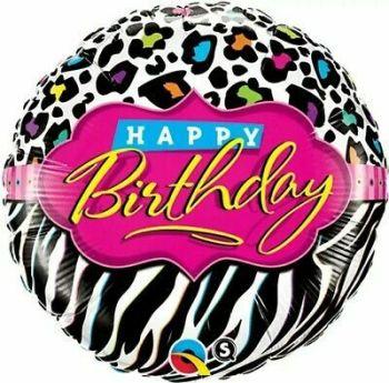 Happy Birthday Foil Balloon Leopard Print