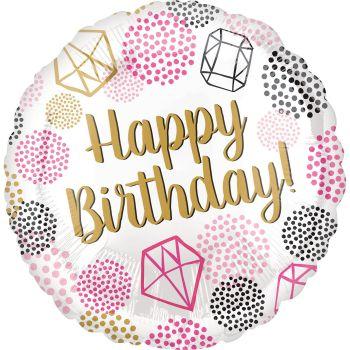 Happy Birthday Foil Balloon Diamond