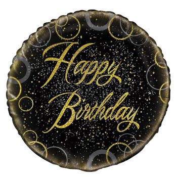 Happy Birthday Foil Balloon Black and Gold