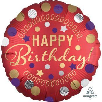 Happy Birthday Foil Balloon Red