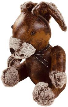 Faux Leather Rabbit Doorstop, Brown,