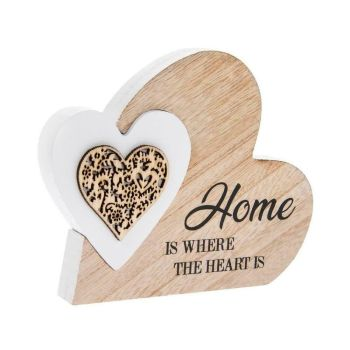 Double Heart Home Wooden Plaque Small Laser Cut New House Warming Decor Gift