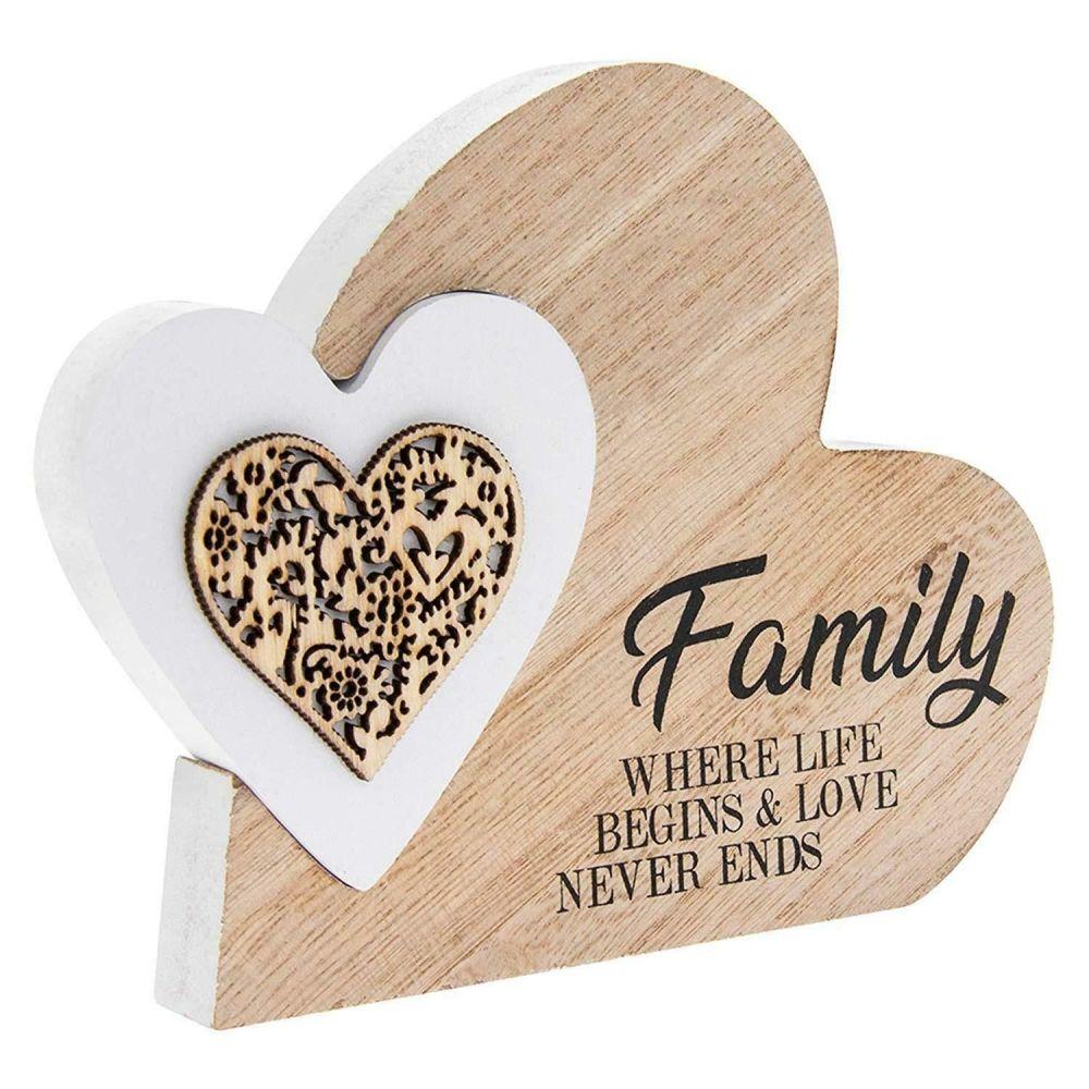 Double Heart Family Wooden Plaque Small Laser Cut Home Decor Housewarming G