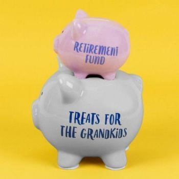 Pennies & Dreams - Retirement - Ceramic Double Pig Money Bank