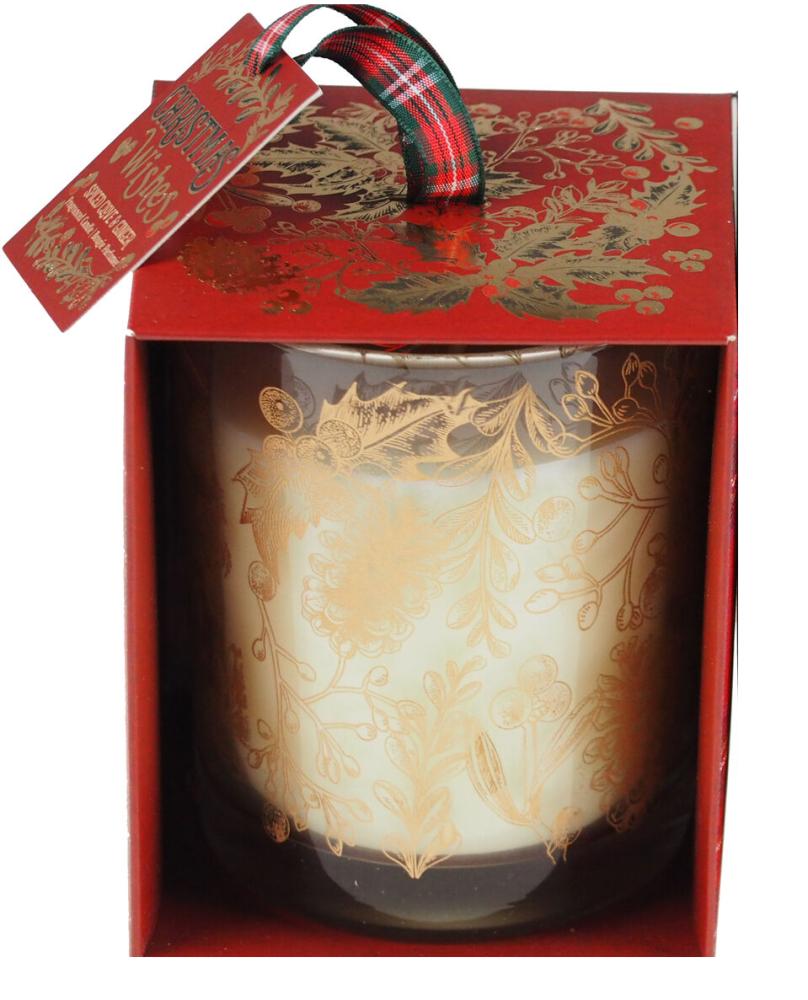 Tartan Merry Christmas Spiced Clove & Ginger Candle