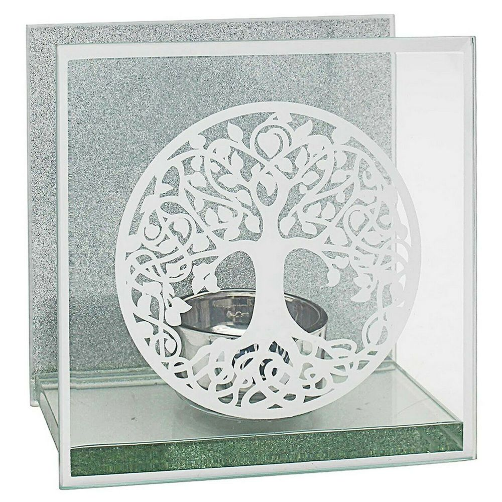 Tree of Life Mirror Tealight Candle Holder