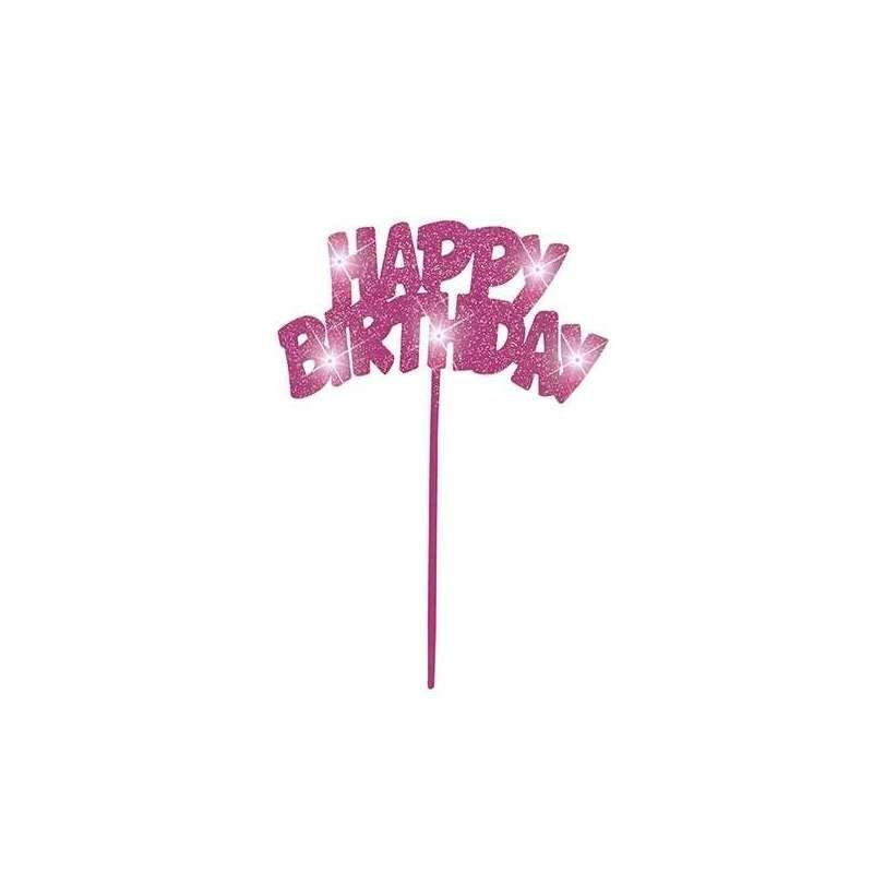 Flashing Happy Birthday Cake Topper - Pink