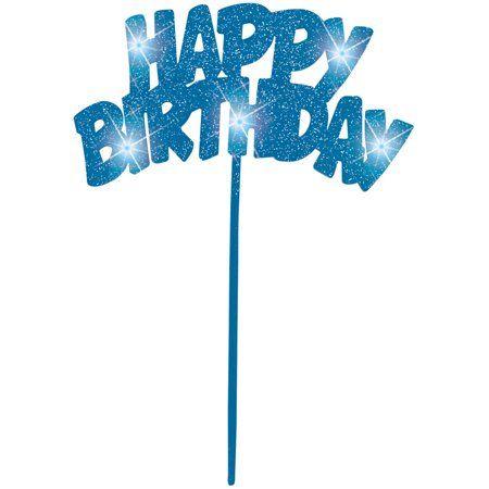 Flashing Happy Birthday Cake Topper - Blue