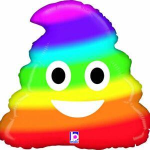 Emoji Poop Rainbow Foil Balloon