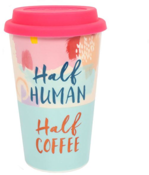 Double Wall Thermal Travel Mug Half Human Half Coffee Ceramic with Lid