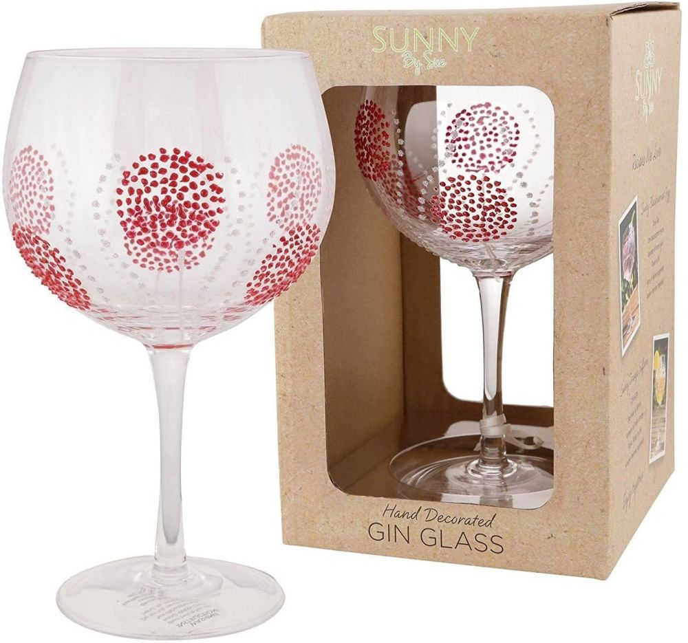 Sunny Hand Decorated Gin Glass Red Burst