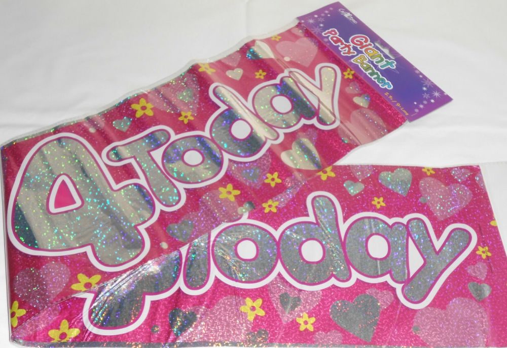 Giant 4 Today Birthday Banner Pink