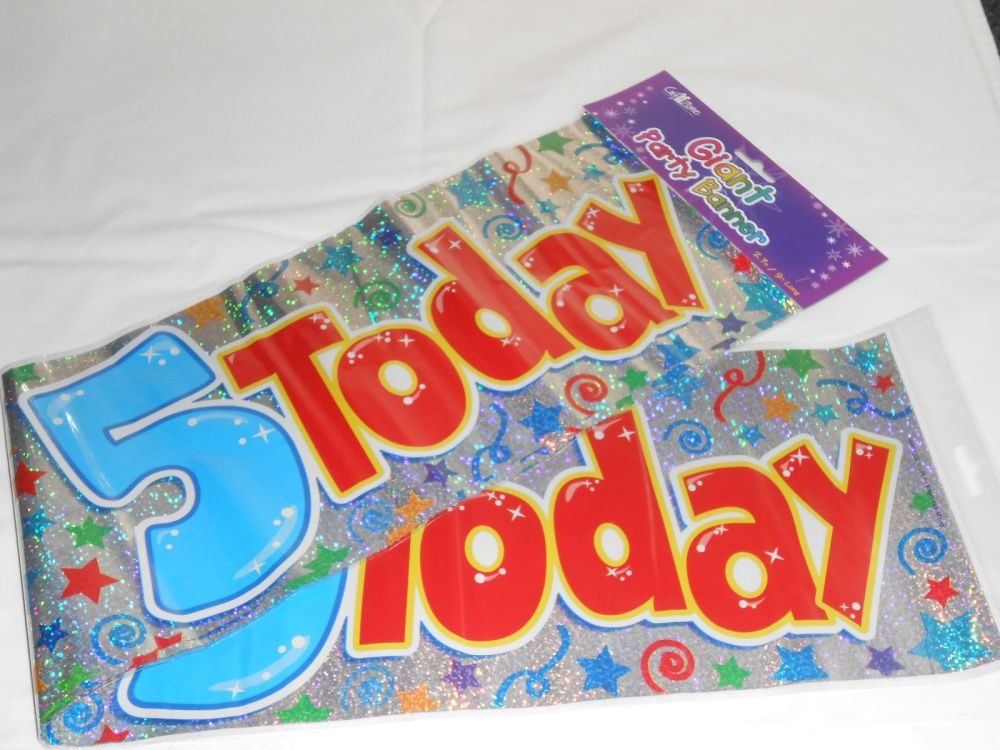 Giant 5 Today Birthday Banner Blue