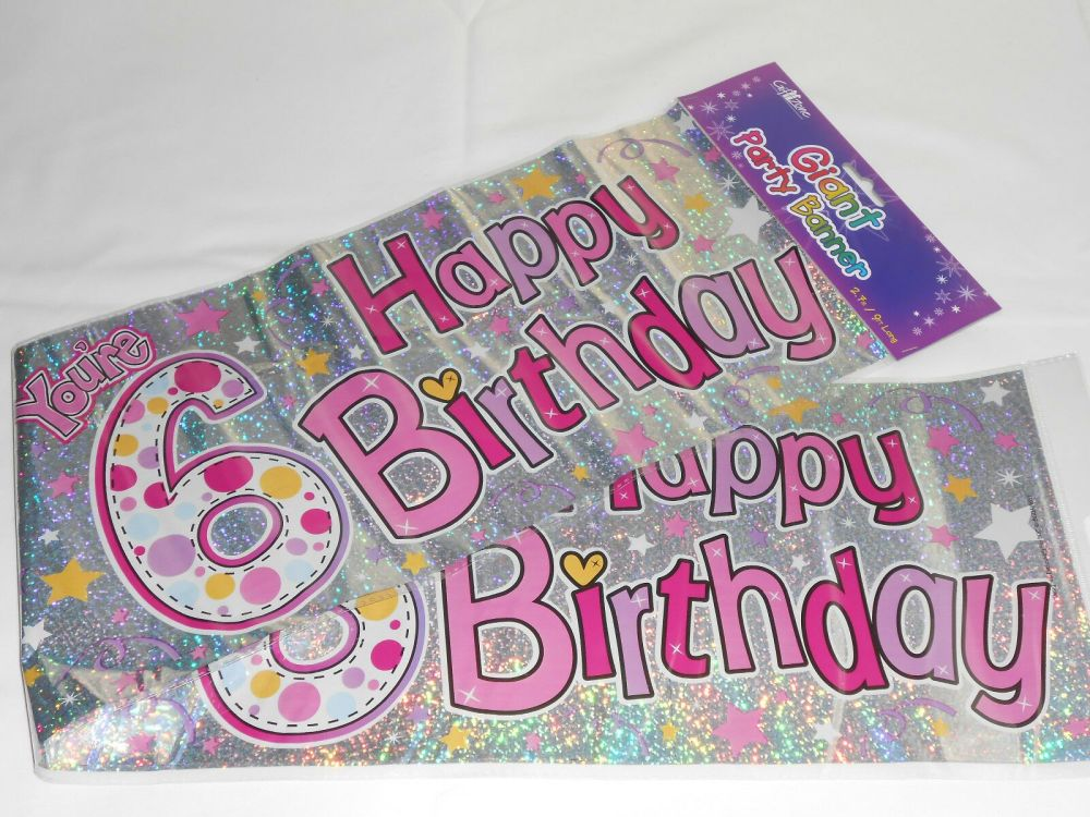 Giant 6 Today Birthday Banner Pink