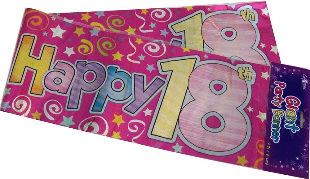 Giant 18th Happy Birthday Banner Pink