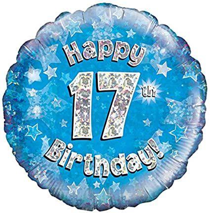 17th Foil Balloon Blue