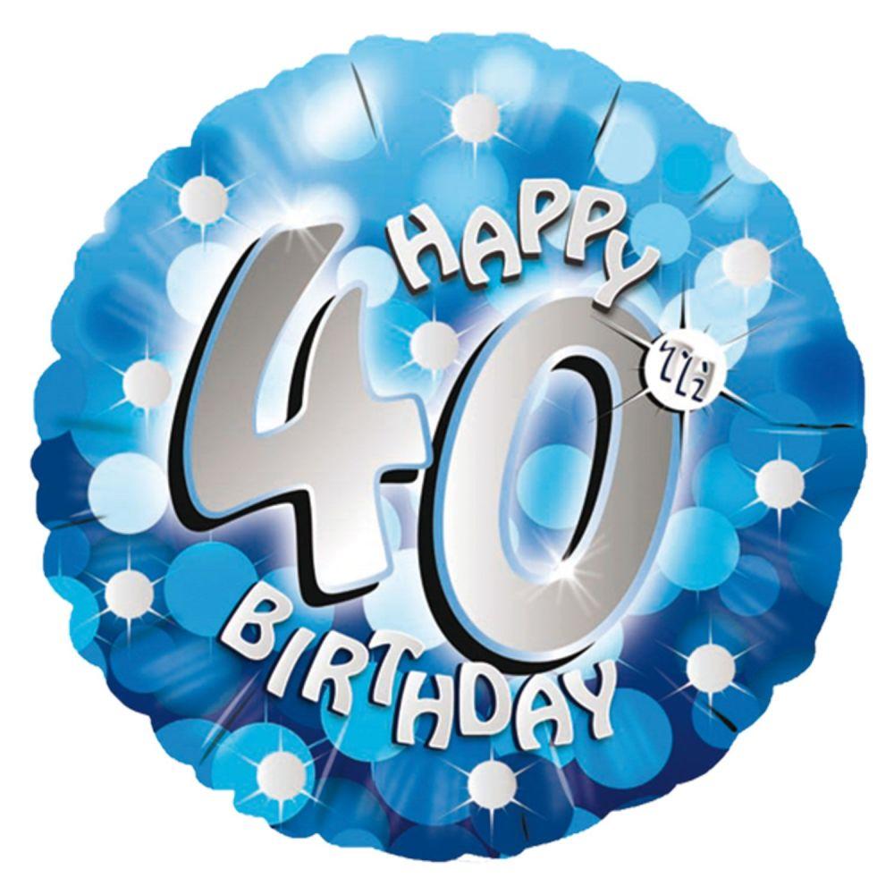 40th Foil Balloon Blue