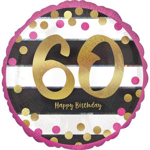 60th Foil Balloon Pink, Black