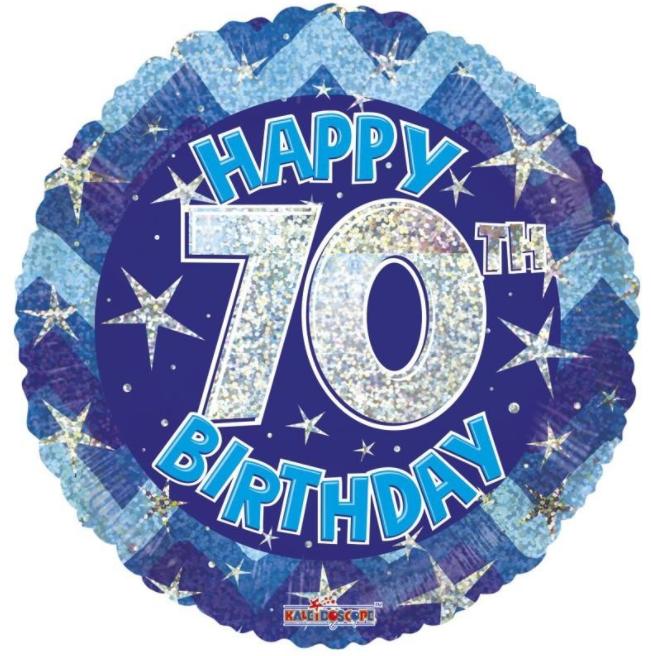 70th Foil Balloon Blue