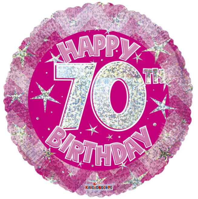 70th Foil Balloon Pink