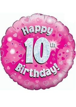 10th Foil Balloon Pink