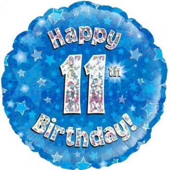 11th Foil Balloon Blue
