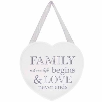 Large Shabby Chic White Wooden Heart Wall Hanging Plaque Home SIGN Gift