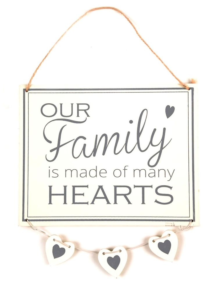 Our Family is Made of Many Hearts Hanging Plaque WHITE
