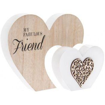 Large Wooden Heart Plaque - Fabulous Friend
