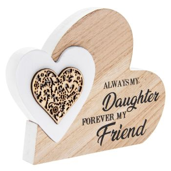 Double Heart Laser Cut Wooden Mini Plaque - Daughter