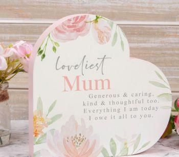 Mum Heart Shape Standing Wooden Plaque With Verse