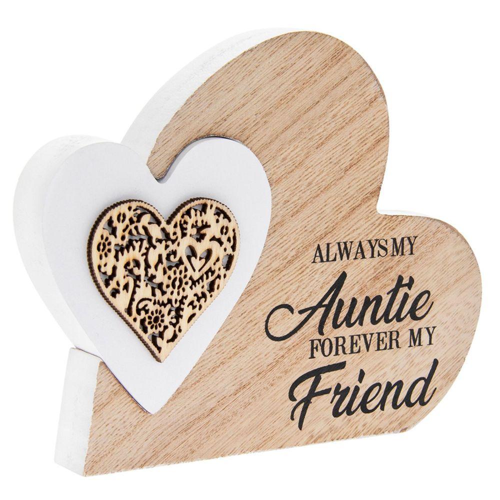 Double Heart Laser Cut Wooden Mini Plaque - Auntie