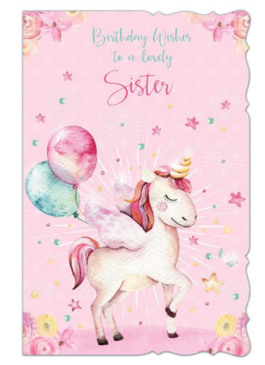 Birthday Wishes To A Lovely Sister - Unicorn