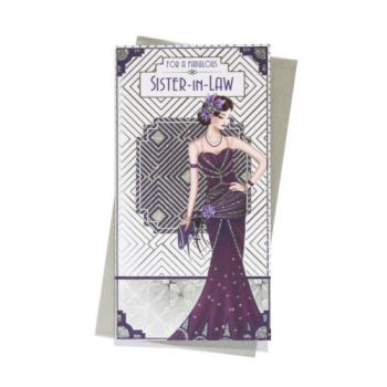For A Fabulous Sister-In-Law - Art Deco - Birthday Card