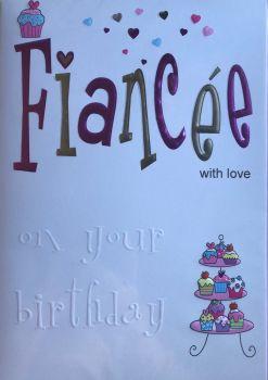 Fiancée with Love Birthday Card
