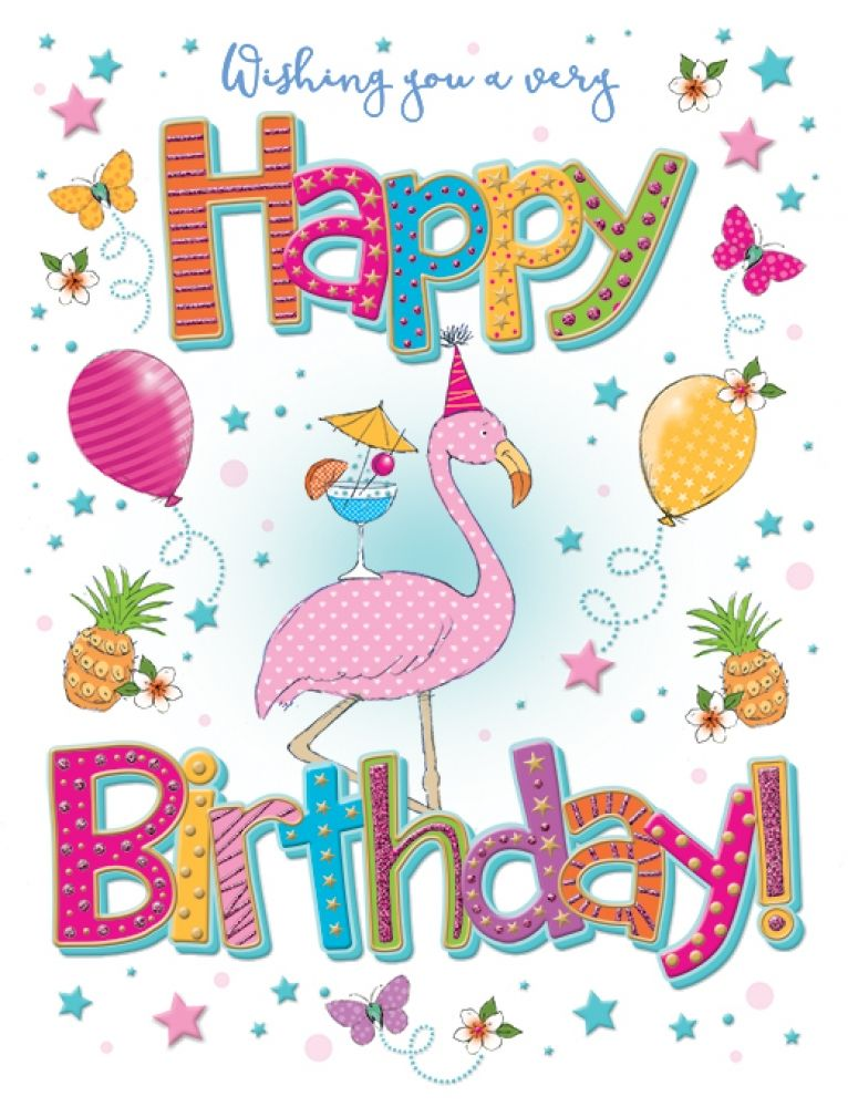 Happy Birthday - Flamingo