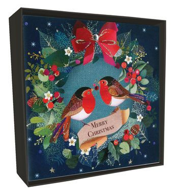 Luxury Happy Christmas Boxed Cards (6) - Robin