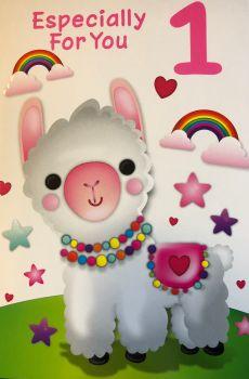 1st Birthday - Llama - Card