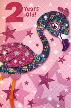 2 Years Old! - Flamingo - Card