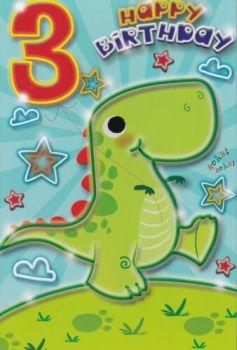 3 Happy Birthday - Dino - Card