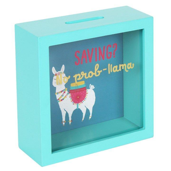 Turquoise Money Box 'Saving? - No Prob-Llama'.