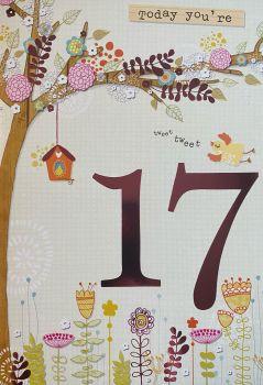 Today You're 17 Tweet Tweet Birthday Card