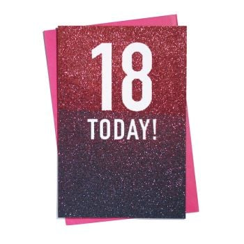 18 Today! Glitter Ombre Birthday Card